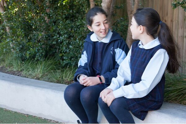 St Josephs Catholic Primary School Belmore - student talking to each other at the Reflective environment area