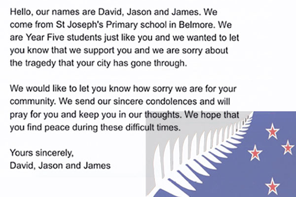 letter from David, Jason and James for Christchurch