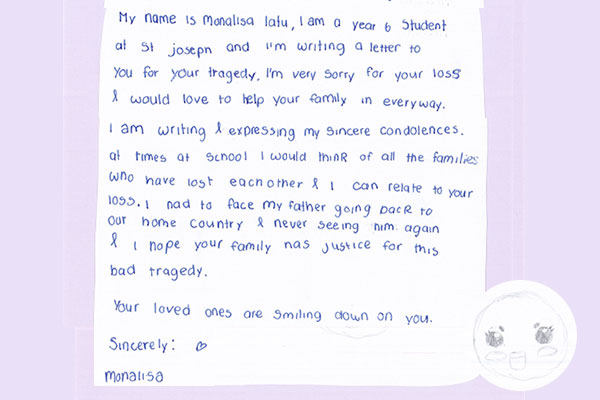 letter from Monalisa for Christchurch