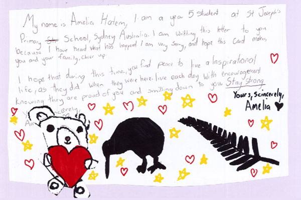 Amelia's letter to Christchurch