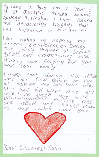 Talia's letter to Christchurch